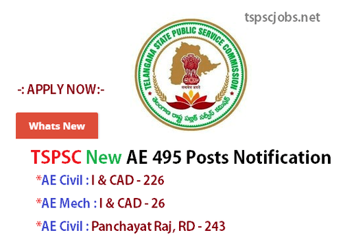 Telangana TSPSC AE 495 Posts Notification 2015 – Official Updates