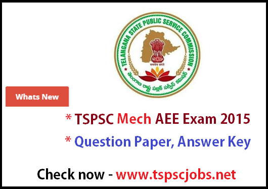TSPSC AEE Mechanical Exam Question Paper Answer key 2015
