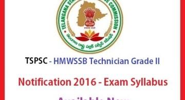 tspsc hmwssb ITI techinician grade 2 - exam syllabus