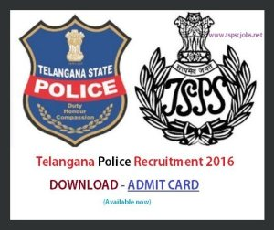 Telangana Police Admit card 2016