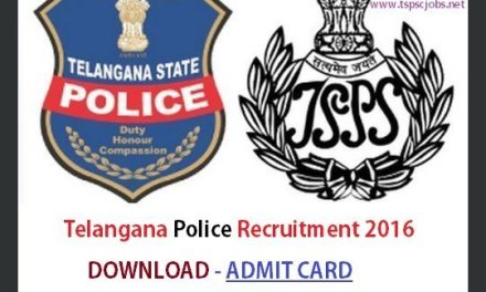 Download Telangana TS Police Constable Admit Card 2016