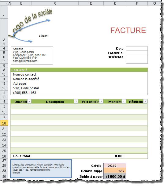 Modèle: créer un outil pour générer et suivre les factures ...