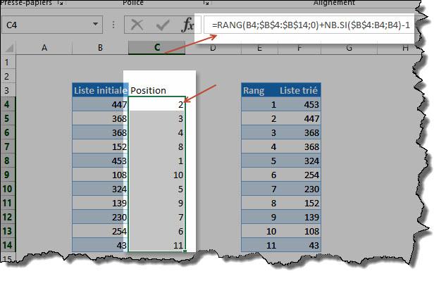 Comment faire un tri (décroissant/croissant) avec des formules (suite)