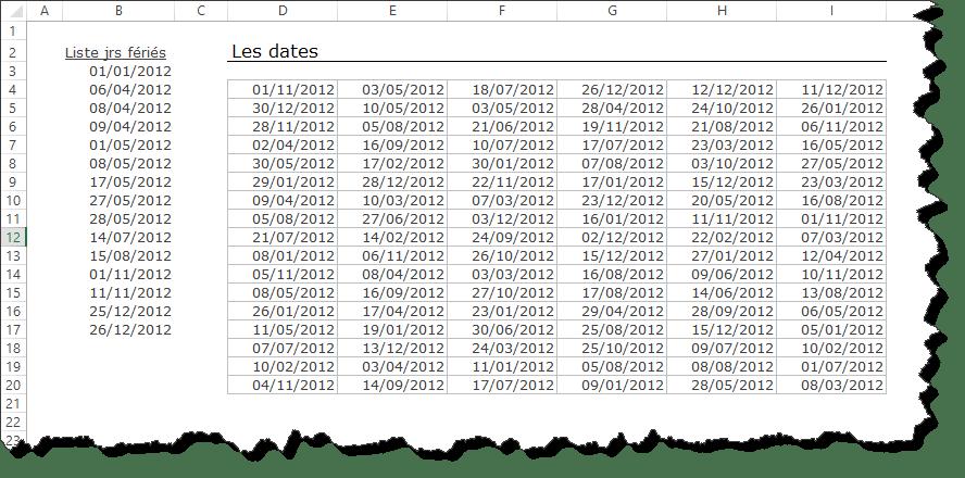Comment utiliser la mise en forme conditionnelle pour mettre en évidence les jours fériés dans un tableau