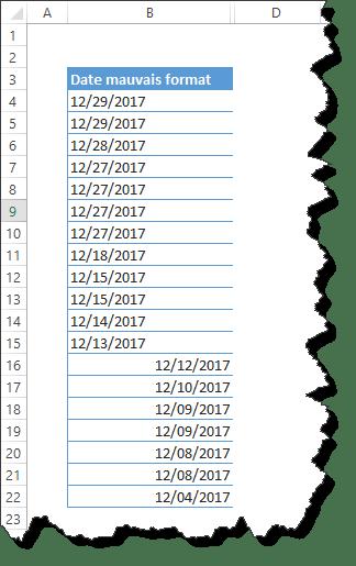Réussir à modifier le format des dates importées: passer du format anglo-saxon au francophone des dates importées dans Excel