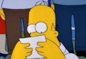 homer reading the note