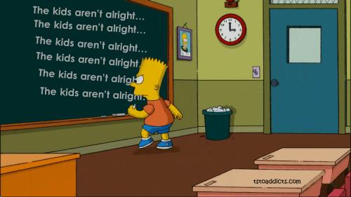 Bart Chalkboard Banner Kidz Aren't Alright