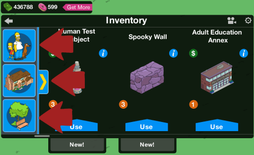 Inventory Main Screen Left Side Icons