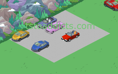 Cars on Road Parking Lot Layout