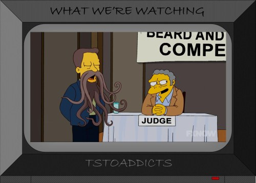 Moe Szyslak judge beard contest Simpsons