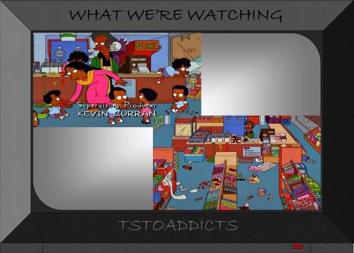 Apu's kids trash the Kwik-E-Mart Simpsons
