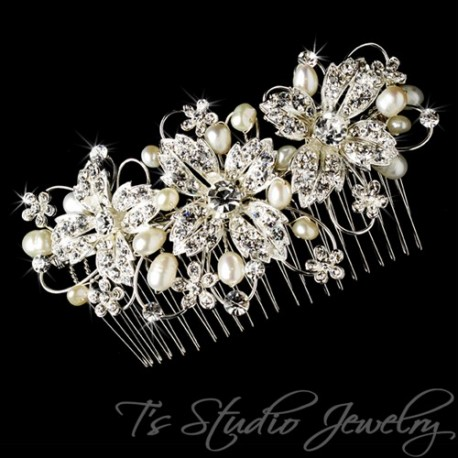 Freshwater Pearl Rhinestone Bridal Hair Comb Wedding Hair