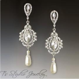 Marquise Crystal Pearl Chandelier Bridal Earrings Savannah