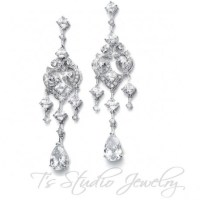 Bridal Chandelier Earrings Vintage Inspired CZ Cubic