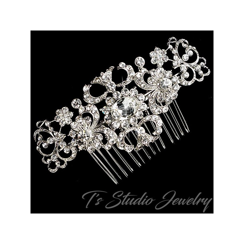 Rhinestone Crystal Silver Bridal Hair Comb Wedding Hair
