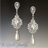 Marquise Crystal and Pearl Chandelier Bridal Earrings ...