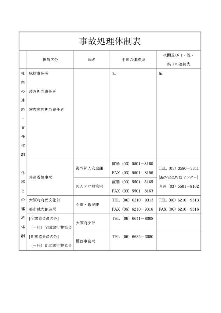 事故処理体制表