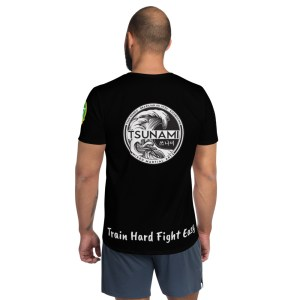 BJJ & TKD All-Over Print Athletic T-shirt (Train hard fight easy)