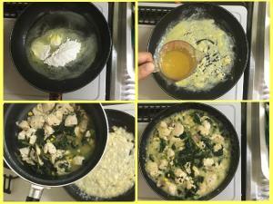 フライパンで小麦粉とバターを混ぜ、コンソメスープでのばしたところに鍋の中身を投入して少し煮る