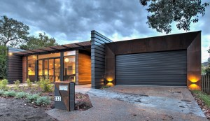 Industrial House - Corten framing to garage