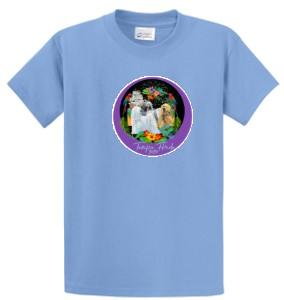 blue tee shirt with logo