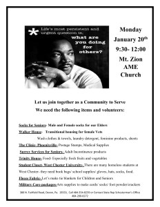 Martin Luther King Day of Service @ Mt. Zion AME Church
