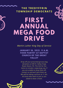 First Annual Mega Food Drive (MLK Day of Service) @ Baptist Church in the Great Valley