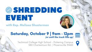 Free Shredding Event with Rep Melissa Shusterman @ Technical College High School - Pickering Campus