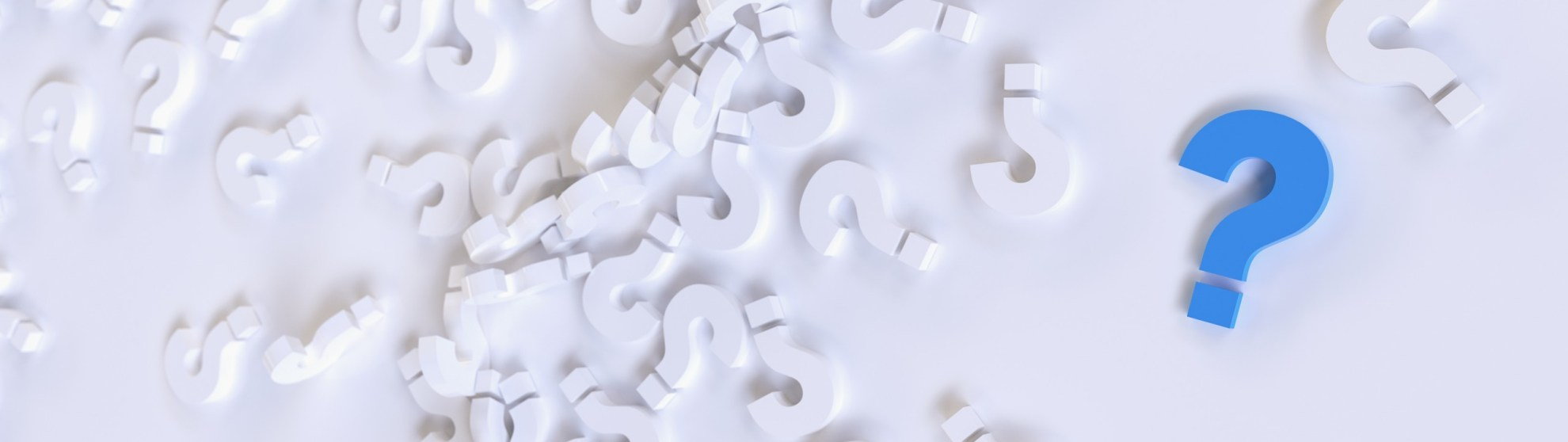 Question Marks Scattered on a White Background with a Single Blue Question Mark to the Right