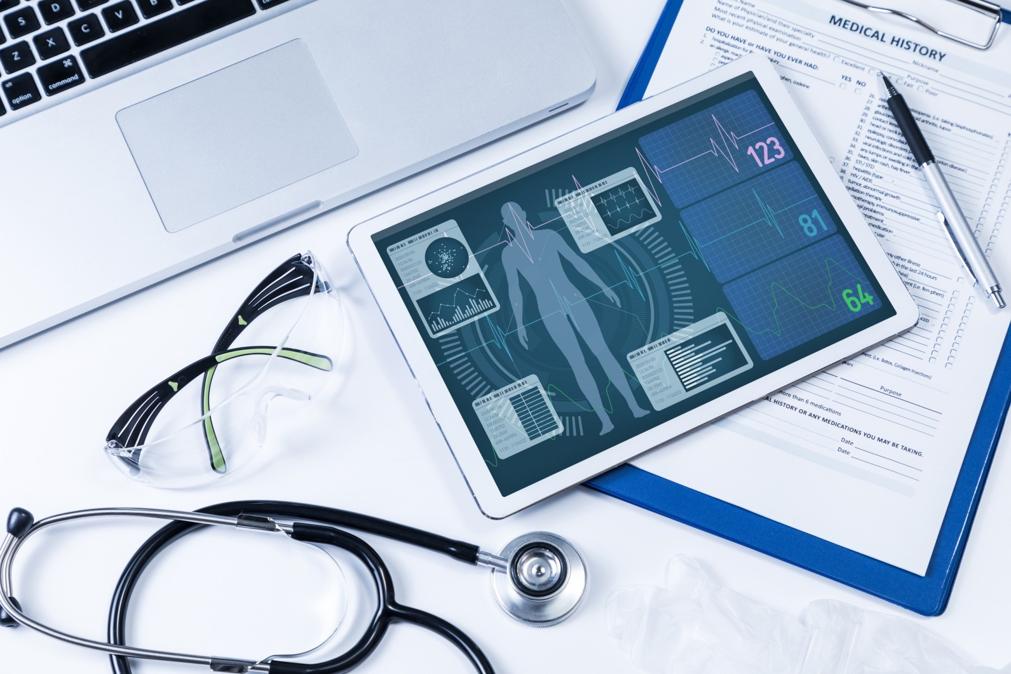 Vital signs on an iPad and medical questionnaire as part of a mixed-mode study.