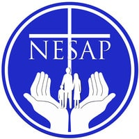Blue circular NESAP logo with white hands holding a family.