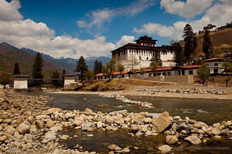 Paro Dzong from river - Bhutan