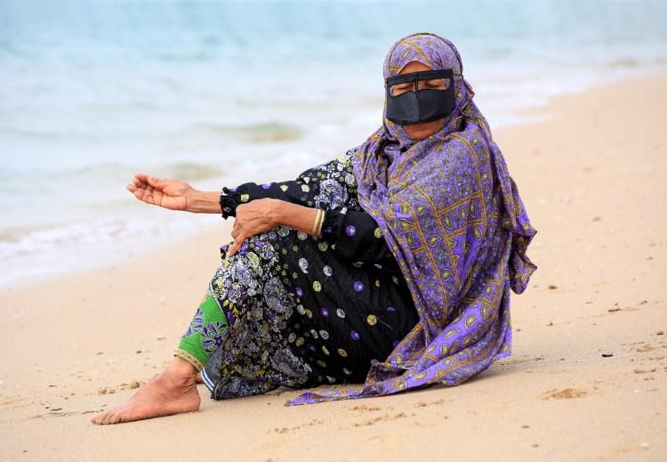 Bandari fishing woman Persian Gulf Hengam island Iran