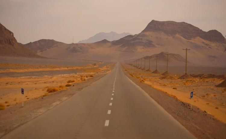 The desert road, Yazd province, Iran
