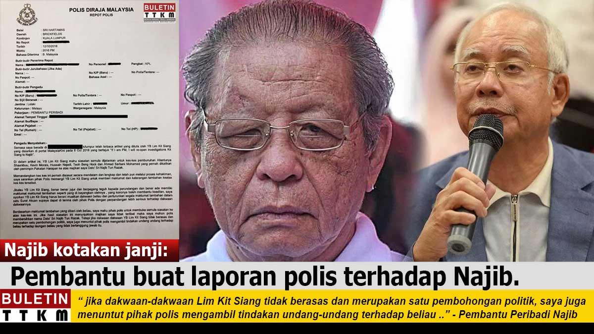 4 kes bunuh, Najib kotakan janji: Pembantu buat laporan polis terhadap Najib.