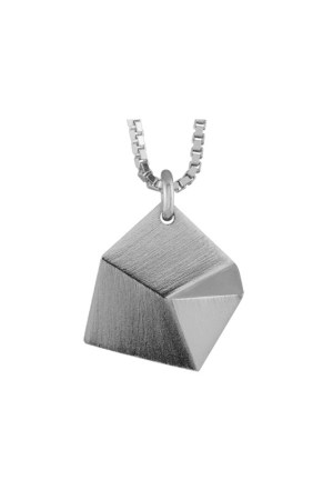 Sofie Lunøe - Flake Small Silver Pendant with Short Chain - Front