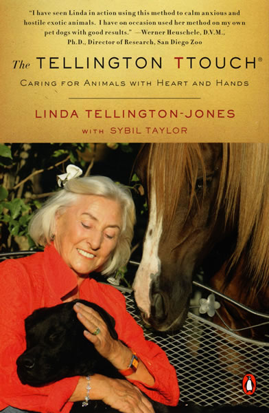Linda Tellington Jones strokes the ears of a black labrador dog as a chestnut horse looks on.