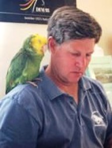 Frances the parrot and her person Phil