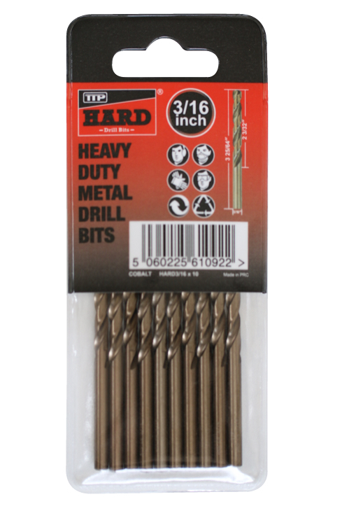 "Close up photo of pack of 10 x 3/16"" TTP HARD cobalt drill bits in plastic sleeve"