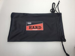 Close up photo of pouch for TTP HARD clear safety glasses