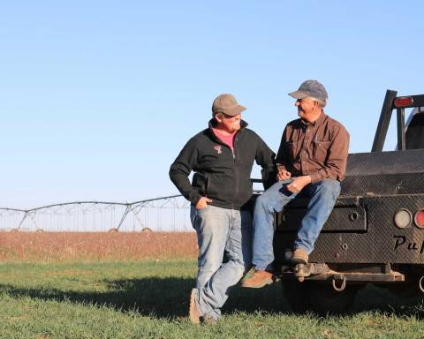 Layton and Glenn Schur look forward to working along side each other on the farm.