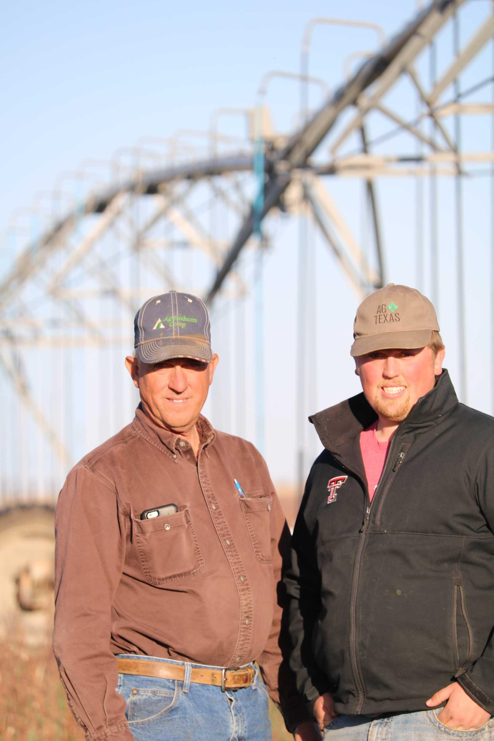 TAWC President Glenn Schur and his son Layton Schur on their farm located in Plainview Texas.