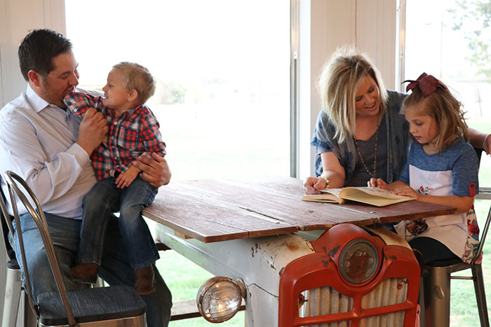 Since the Furgeson family is very active in running the family winery, farming and school, the family unwinds the day by reading and talking at the dining table.