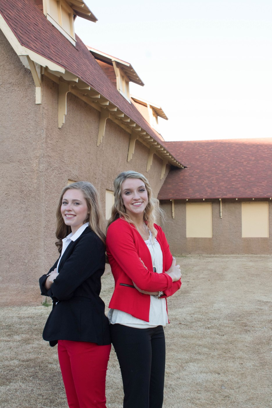 Maggie Pipkin (left) and Kaylynn Kiker (right) showcase their professional attire which must be worn to all MILE events. Dressing professionally is an important skill learned through MILE.