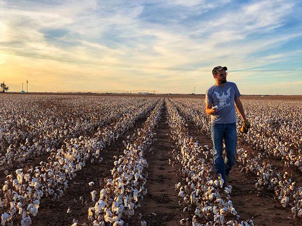 Photo of John walking down cotton rows on his family farm