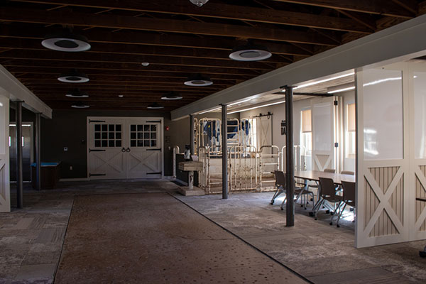 Picture of the interior main area in the Dairy Barn.