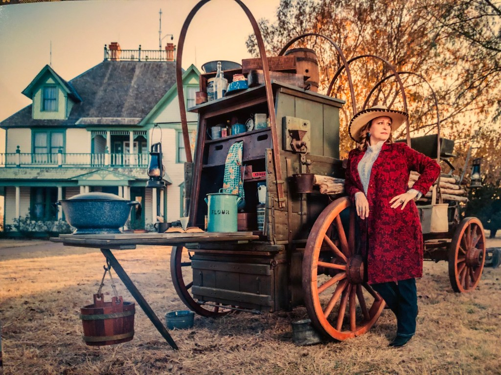 Hightower in front of NRHC building with her chuck wagon