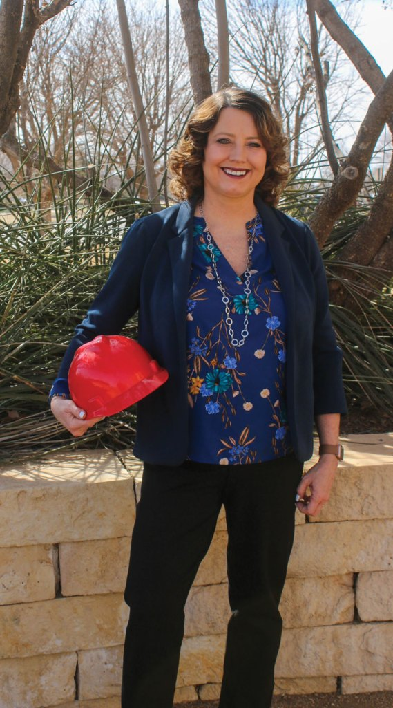 Dr. Brashears with her Texas Tech hardhat
