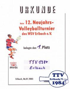 Urkunde Volleyball beim WSV Erlbach