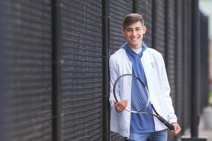 Bay Village senior photography on tennis court